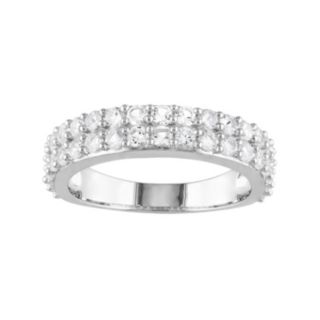 Stella Grace Sterling Silver Lab-Created White Sapphire Double Row Ring