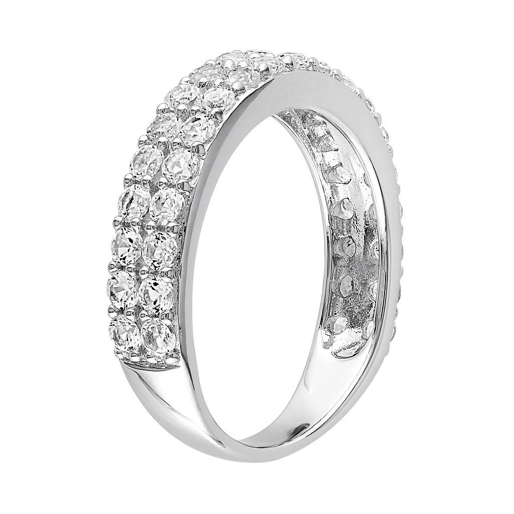 Sterling Silver Lab-Created White Sapphire Double Row Ring