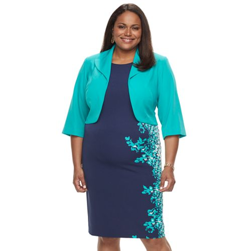 094c6a96d8 Plus Size Maya Brooke Floral Sheath Dress   Jacket Set