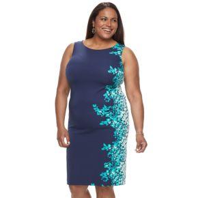Plus Size Maya Brooke Floral Sheath Dress & Jacket Set