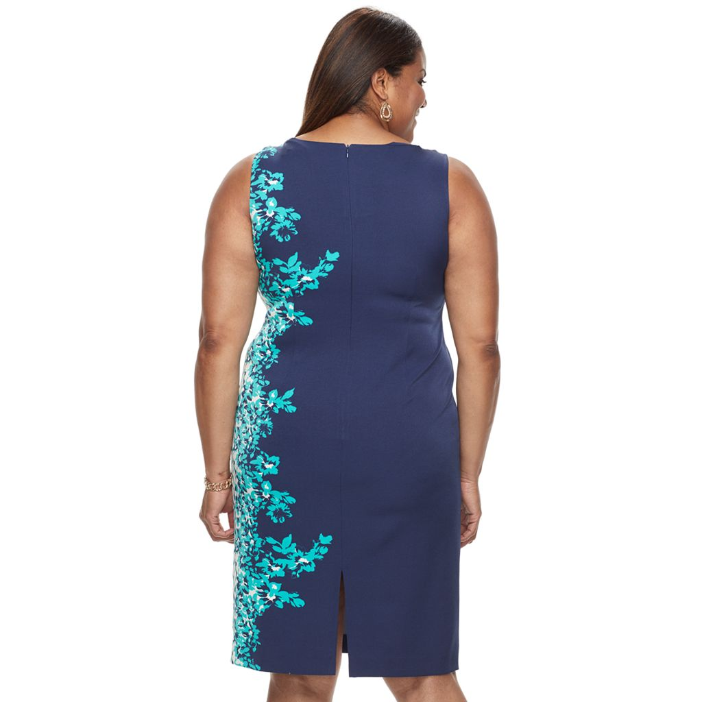 Plus Size Maya Brooke Floral Sheath Dress & Jacket Set