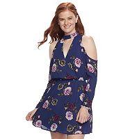 Juniors' Speechless Floral Cold-Shoulder Choker Neck Dress