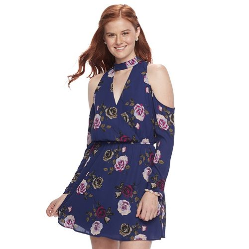 Juniors' Speechless Floral Cold-Shoulder Choker Neck Dress