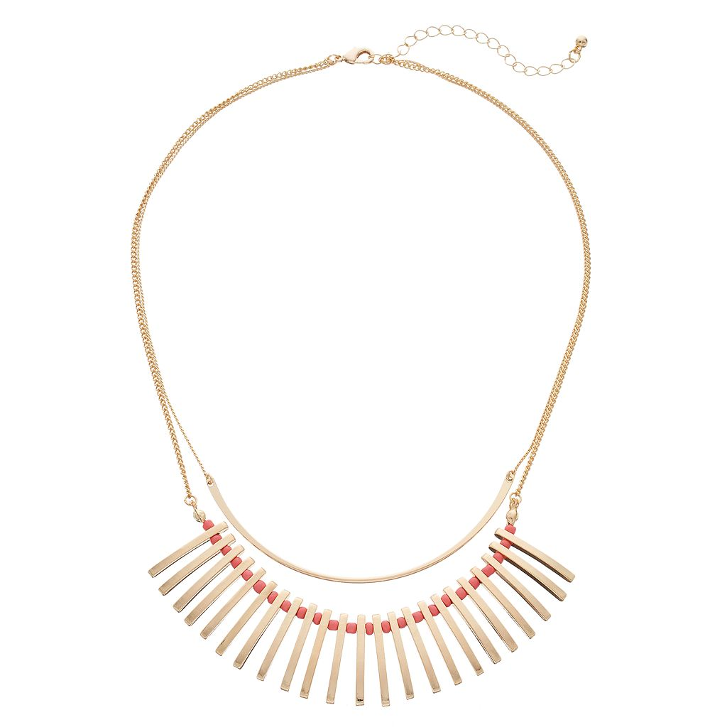Peach Bead Stick Double Strand Necklace