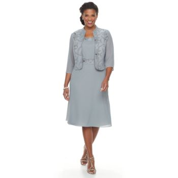 Plus Size Maya Brooke Embellished Fit & Flare Dress & Jacket Set