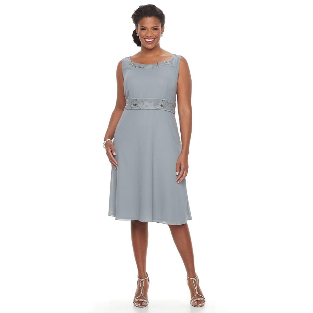 Plus Size Maya Brooke Embellished Fit & Flare Dress & Jacket Set
