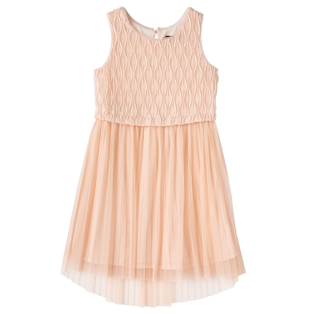 Girls 7-16 Three Pink Hearts Textured Bodice Pleated Tulle Dress