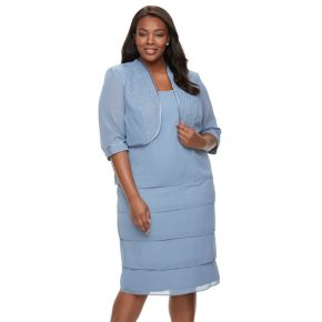 Plus Size Le Bos Illusion-Panel Jacket & Tiered Dress