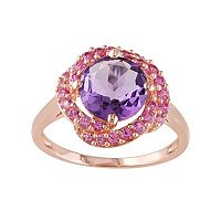 Sterling Silver Amethyst & Lab-Created Pink Sapphire Knot Ring