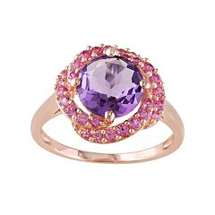 Stella Grace Sterling Silver Amethyst & Lab-Created Pink Sapphire Knot Ring