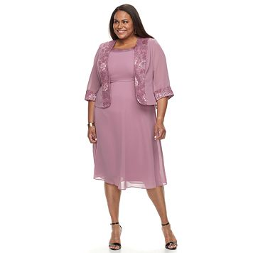 Plus Size Le Bos Georgette Evening Gown & Jacket Set