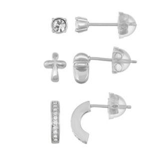 Lulabelle Kids' Cubic Zirconia & Crystal Cross Stud & Semi-Hoop Earring Set