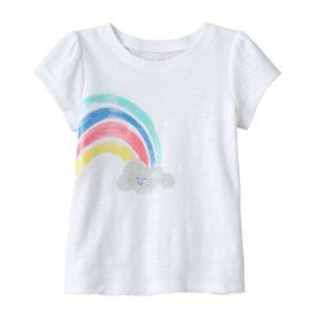 Baby Girl Jumping Beans® Glitter Rainbow Slubbed Tee