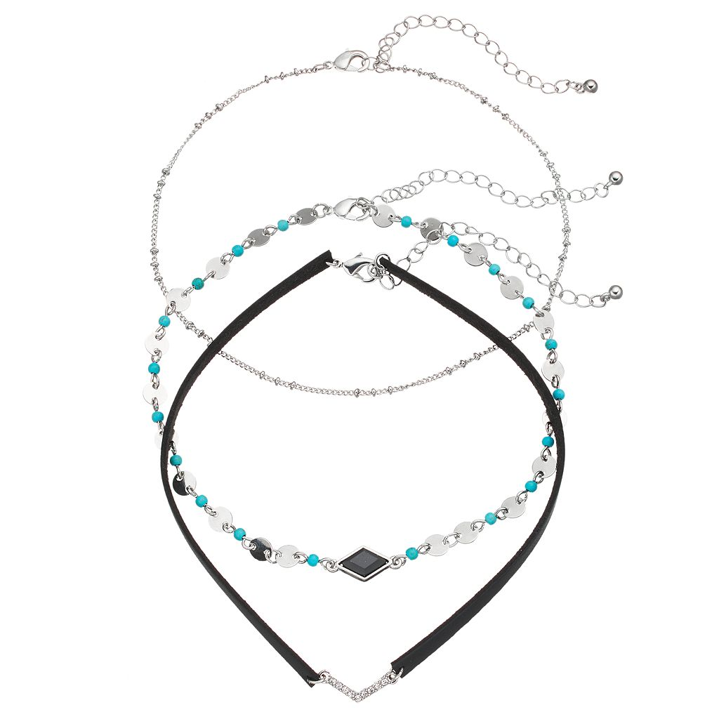 Simulated Crystal Chevron & Simulated Turquoise Beaded Choker Necklace Set