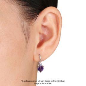 Stella Grace Sterling Silver African Amethyst & Tanzanite Heart Drop Earrings