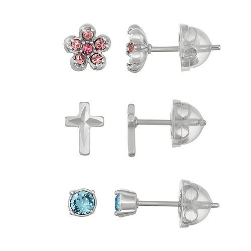 Lulabelle Kids' Sterling Silver Crystal Cross & Flower Stud Earring Set
