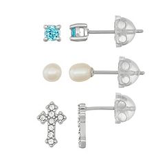Lulabelle Kids' Cubic Zirconia, Crystal Cross & Freshwater Cultured Pearl Stud Earring Set