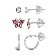 Lulabelle Kids' Sterling Silver Crystal Butterfly Stud & Hoop Earring Set