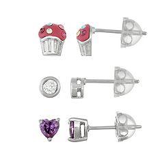Lulabelle Kids' Cubic Zirconia Heart & Crystal Cupcake Stud Earring Set