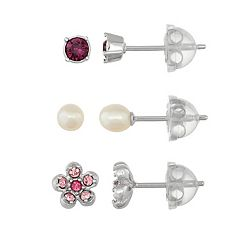 Lulabelle Kids' Crystal Flower & Freshwater Cultured Pearl Stud Earring Set