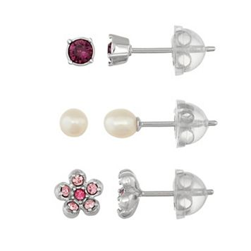 Lulabelle Kids' Crystal Flower & Freshwater Cultured Pearl Stud Earring Set