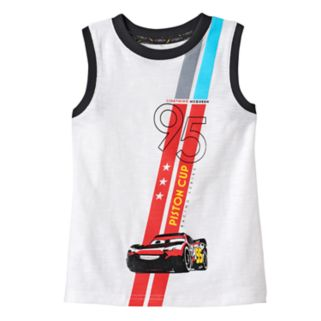 """Disney / Pixar Cars 3 Toddler Boy """"Lightning McQueen Piston Cup"""" Muscle Tank by Jumping Beans®"""