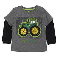 Toddler Boy John Deere Tractor Mock-Layer Graphic Tee