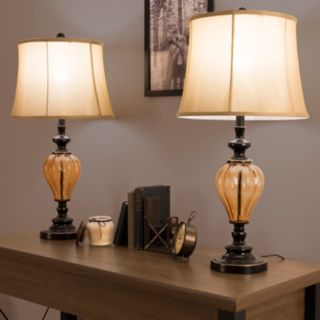 Portsmouth Home Amber Glass Lamp 2-piece Set