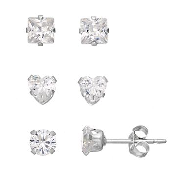 Charming Girl Kids' Cubic Zirconia Heart & Square Stud Earring Set