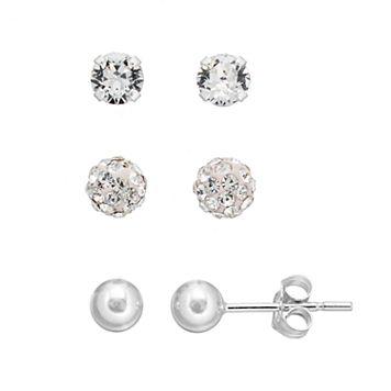 Charming Girl Kids' Crystal & Ball Stud Earring Set