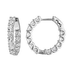 Sterling Silver Lab-Created White Sapphire Inside Out Hoop Earrings