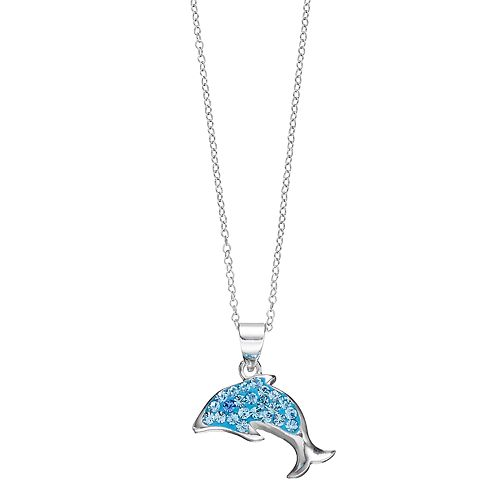 Charming Girl Kids' Sterling Silver Crystal Dolphin Pendant Necklace