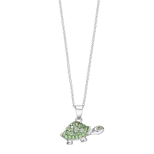 Charming Girl Kids' Sterling Silver Crystal Turtle Pendant Necklace