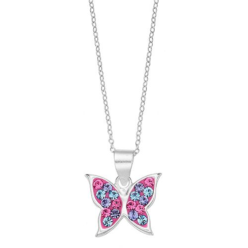 Charming Girl Kids' Sterling Silver Crystal Butterfly Pendant Necklace