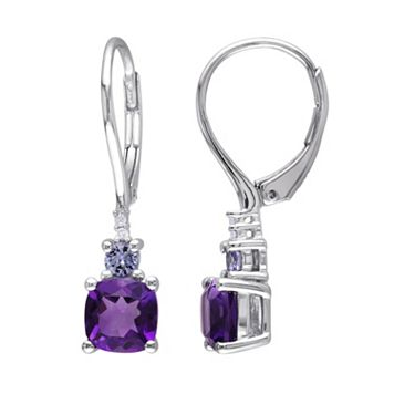 Sterling Silver Gemstone & Diamond Accent Drop Earrings