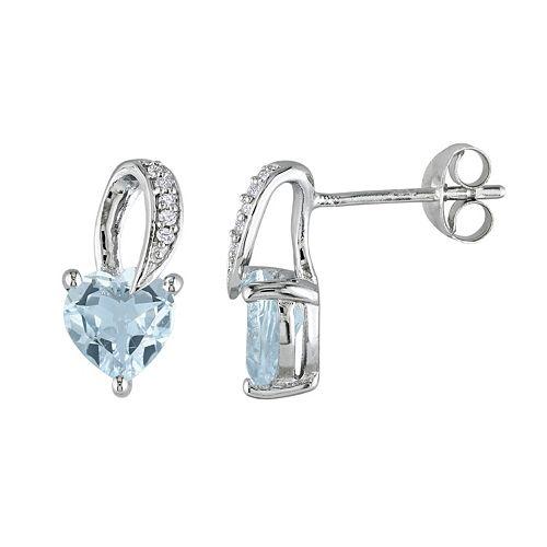 Sterling Silver Aquamarine & Diamond Accent Heart Stud Earrings