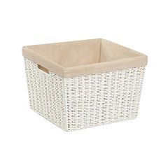 Honey-Can-Do White Parchment Cord Lined Basket