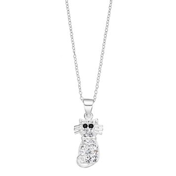 Charming Girl Kids' Sterling Silver Crystal Cat Pendant Necklace