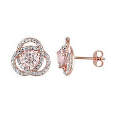 Sterling Silver Morganite & 1/10 Carat T.W. Diamond Swirl Stud Earrings