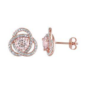 Stella Grace Sterling Silver Morganite & 1/10 Carat T.W. Diamond Swirl Stud Earrings