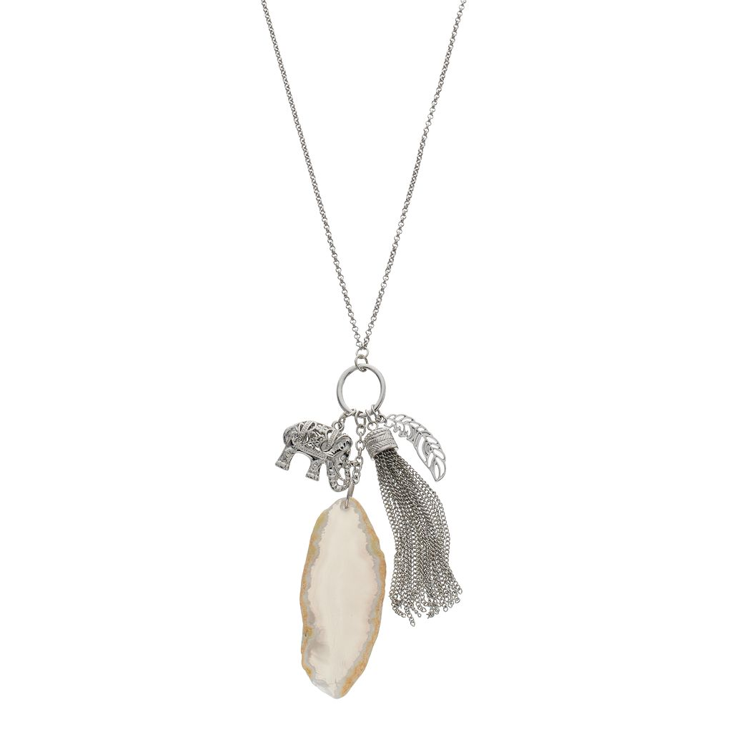 Elephant, Feather & Tassel Charm Necklace