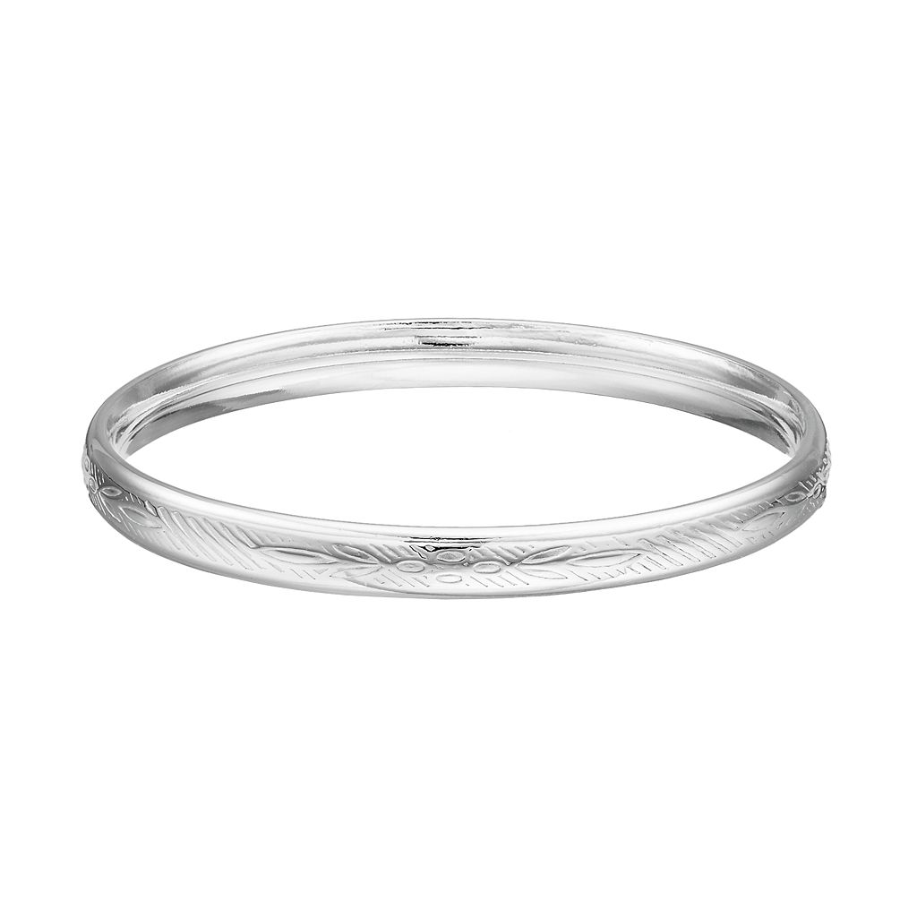 Charming Girl Kids' Silver Plated Crystal Bangle Bracelet