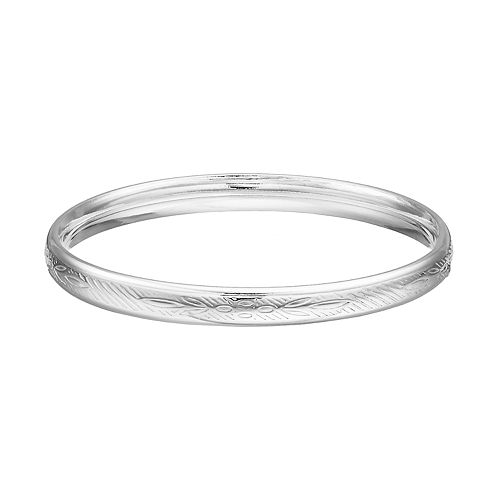 Charming Girl Kids' Silver Plated Crystal Bangle Bracelet