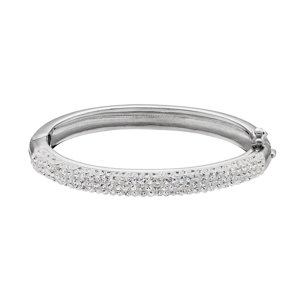 Charming Girl Kids' Silver Plated Etched Bangle Bracelet