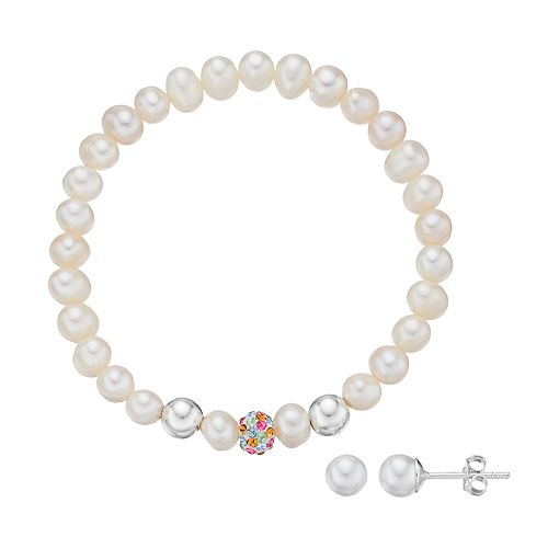 Charming Girl Kids' Simulated Pearl & Crystal Stretch Bracelet & Stud Earring Set