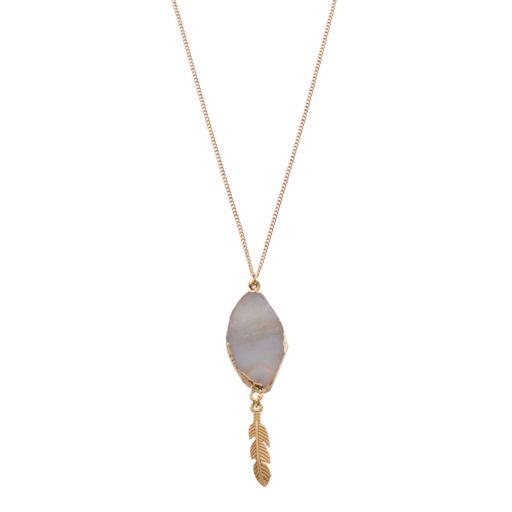 Leaf Simulated Agate Pendant Necklace
