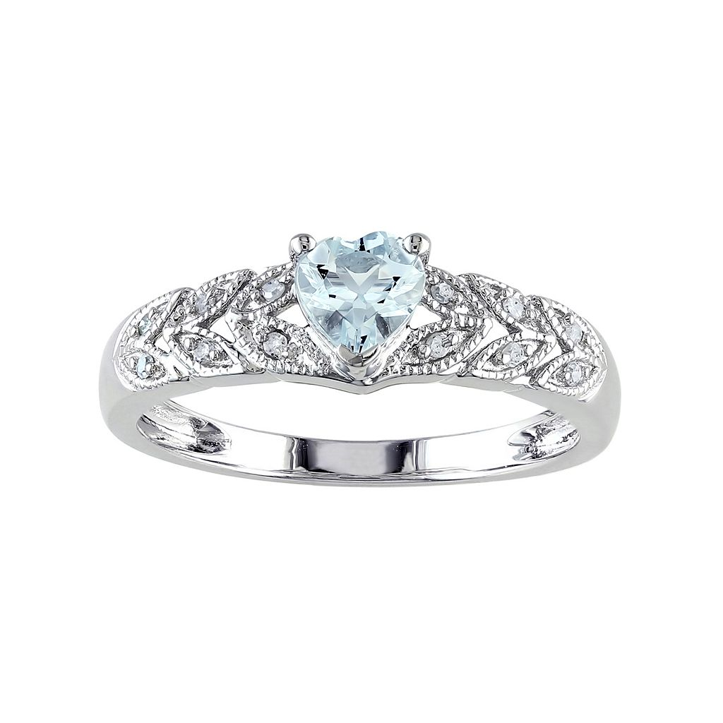 Sterling Silver Aquamarine & Diamond Accent Heart & Leaf Ring