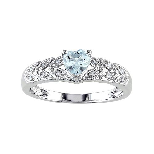 Stella Grace Sterling Silver Aquamarine & Diamond Accent Heart & Leaf Ring