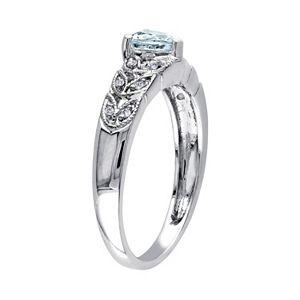 Stella Grace Sterling Silver Aquamarine & Diamond Accent Heart & Leaf Ring