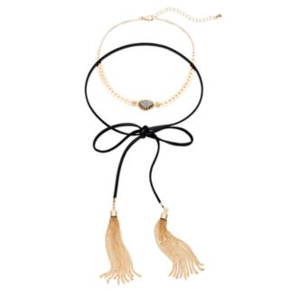 Simulated Drusy Choker & Black Tassel Lariat Necklace Set